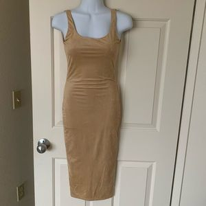 Beige/Tan Suede-Look Fitted Dress